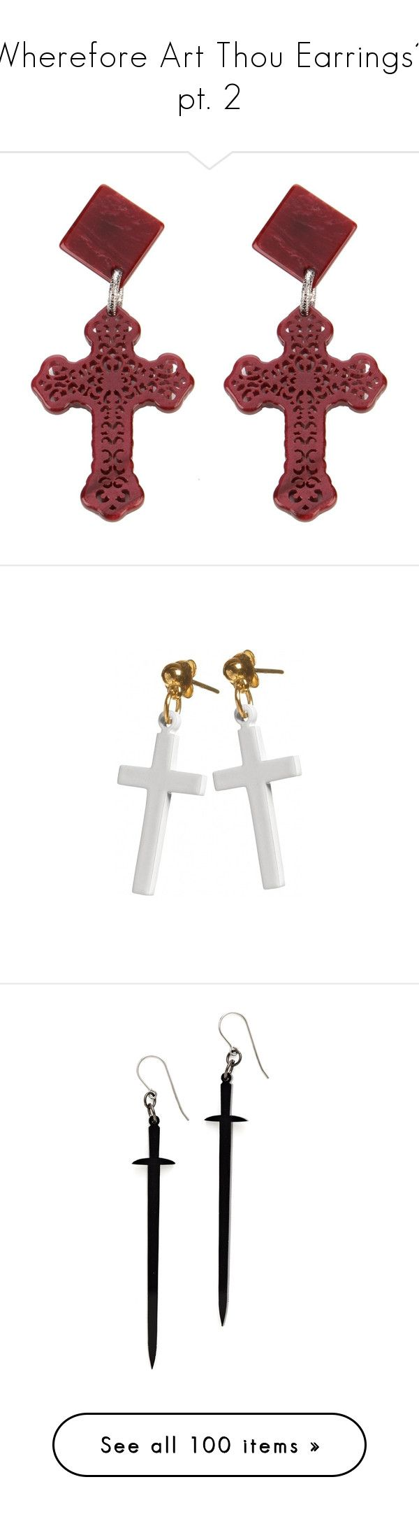 """""""Wherefore Art Thou Earrings? pt. 2"""" by pinkfloydnirvana333 ❤ liked on Polyvore featuring jewelry, earrings, cross jewelry, cross stud earrings, gothic earrings, diamond cross earrings, goth jewelry, accessories, fillers and vintage cross jewelry"""