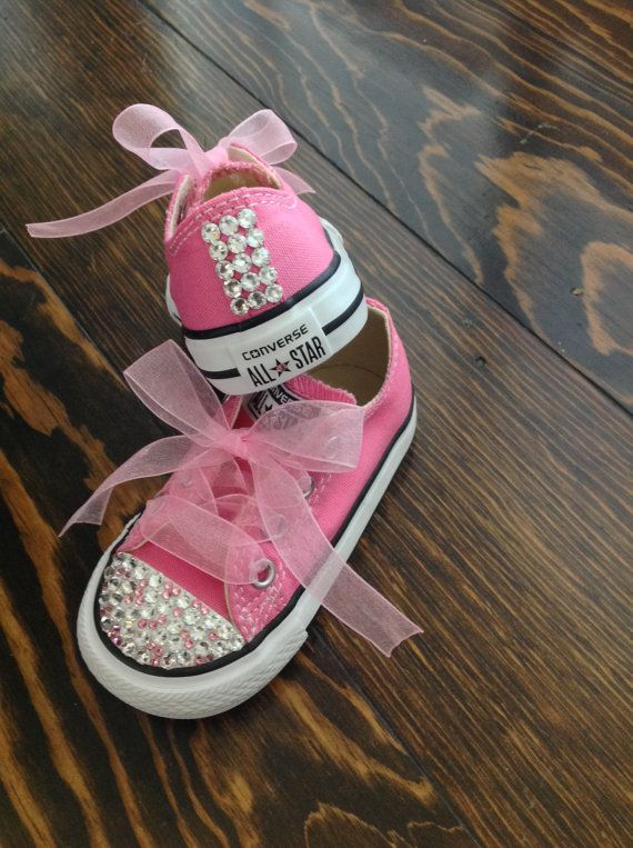 Pink on Pink Bling Converse van GirlieBlingByJess op Etsy