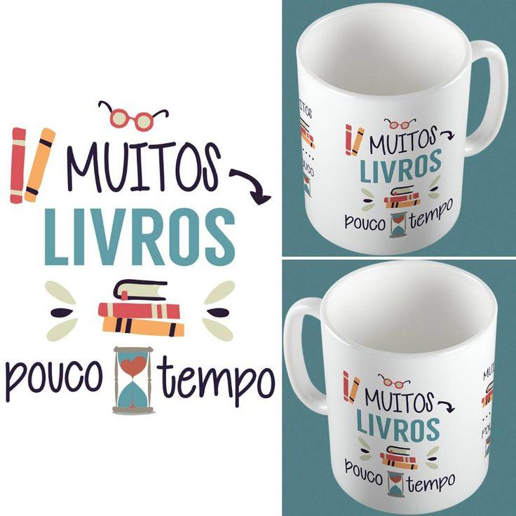 """Caneca """"Muitos livros, pouco tempo"""" (caneca estampada na frente, meio e no verso)  R$ 28 na www.stamptag.com.br  siga @stamptag stamptag#canecas #livros #instabook #presente #instadecor #instadesign #desing #decoração #love #instagood #cute #like #happy #instalike #life #instacool #funny #colorful #instalove #good #loveit #best #tanlup #lojaonline #caneca #canecapersonalizada #instamensagem #instafrases #amo #quero"""