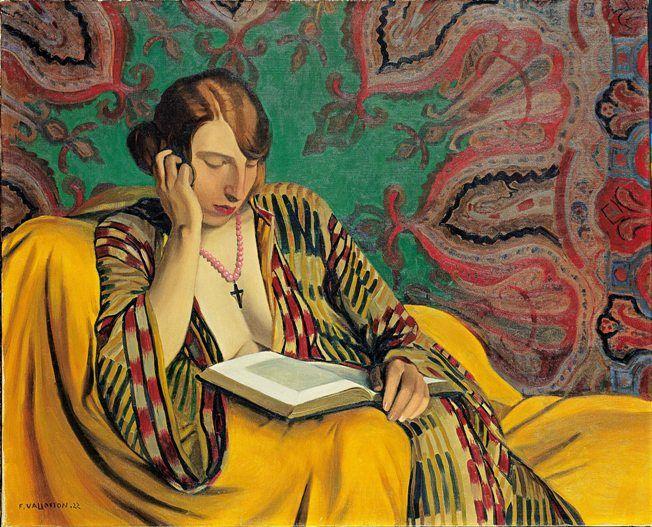 """""""La Liseuse"""" de Félix Vallotton, 1922  Huile sur toile - 81 x 100 cm  Suisse, collection particulière  Photo : Institut Suisse pour l'histoire de l'art"""