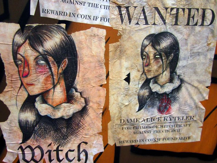 Wanted posters a Witch named Dame Alice Kyteler in 1324 Ireland