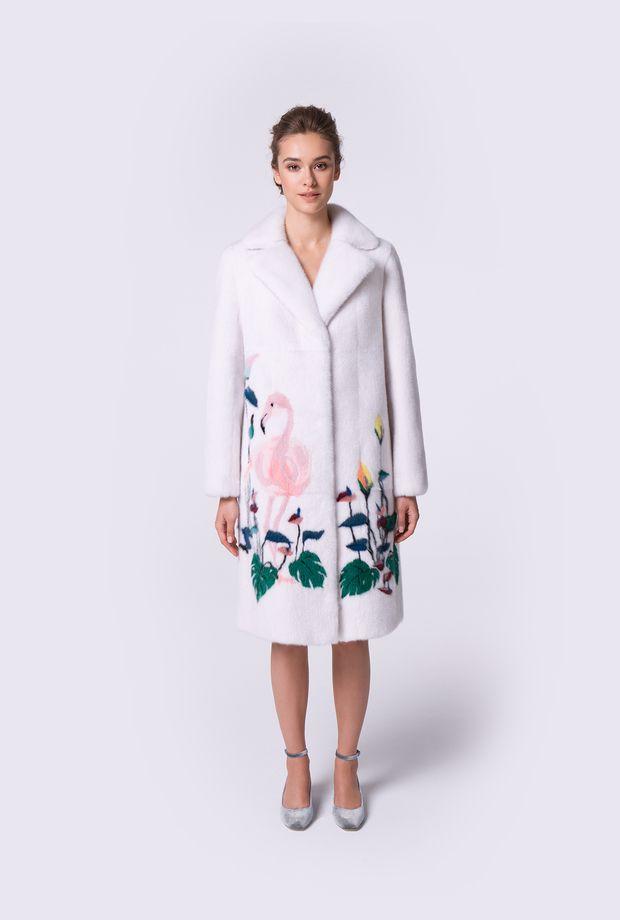 Пальто из норки виолет с инкрустацией Фламинго купить в ...