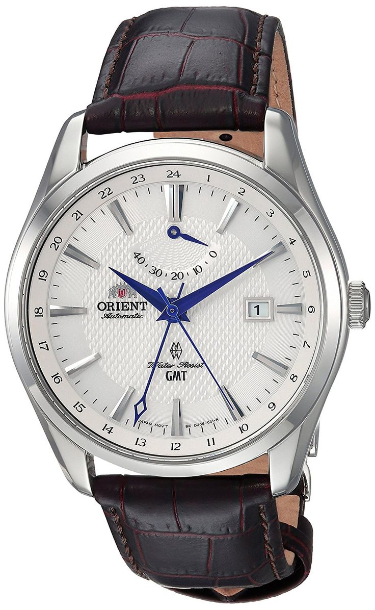 Orient Polaris GMT Automatic $370. Stainless Steel and Leather Dress Watch, Color:Brown (Model: FDJ05003W0)