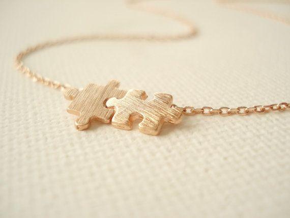 Collier de puzzle en or rose... minimaliste par blueJboutique7