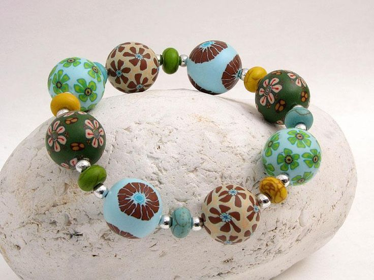 See im Wald Armband Polymer Clay Kunst Fimoperlen  von Künstler-Perlen und Schmuck aus Polymer clay und Fimo auf DaWanda.com