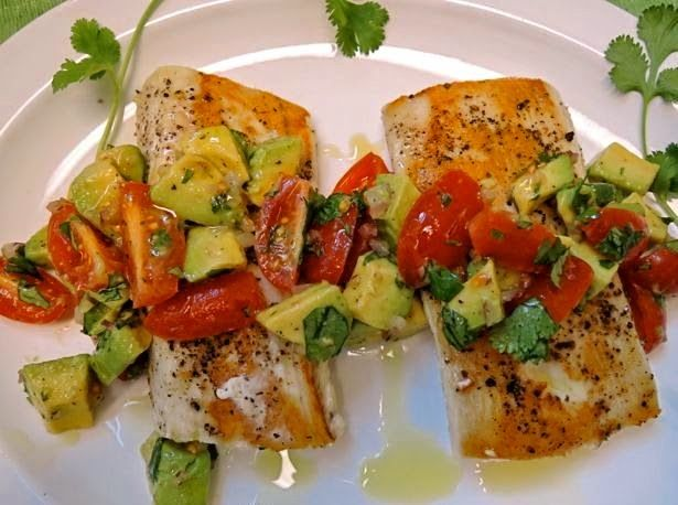 The Briny Lemon: Pan-Seared Wahoo with Tomato-Avocado Relish