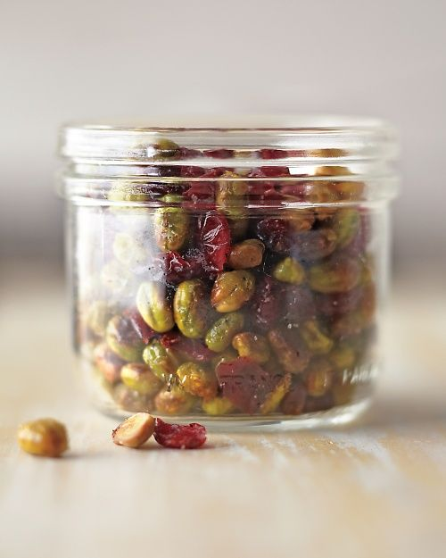 Try an unconventional trail mix with a satisfying crunch: Dry-Roasted Edamame with Cranberries, Wholeliving.com