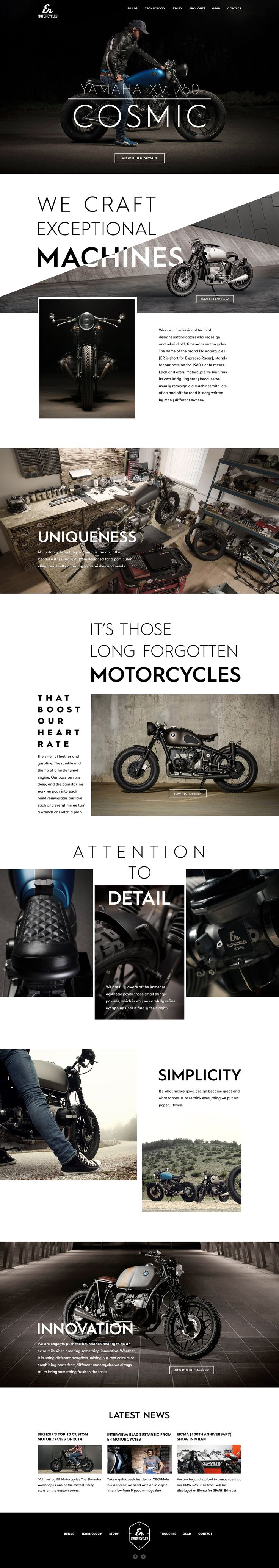 Clean and simple web design with creative typography for a motorcycle company.