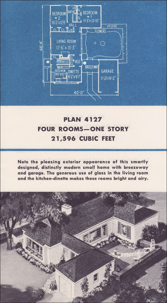 Weyerhaeuser Plans. Design No. 4127. 1950 Homes of Greater Value