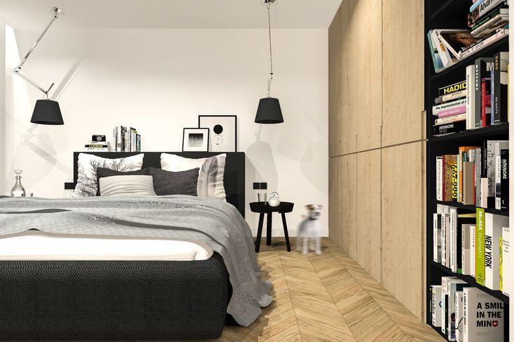 Projekt sypialni w domku jednordzinnym.
