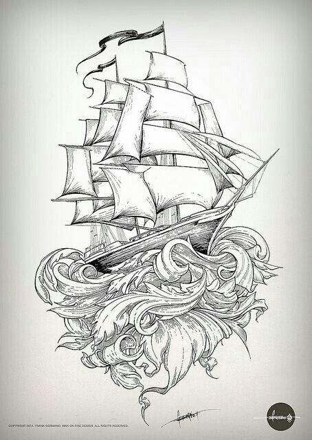 Beautiful tallship tattoo design