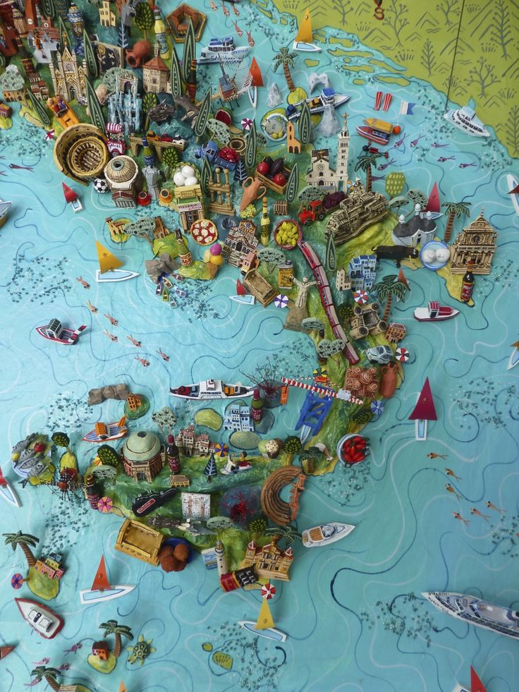 Southern Italy - 3D illustrated map of Italy - papier mache, acrylic paint, balsa wood and mixed media
