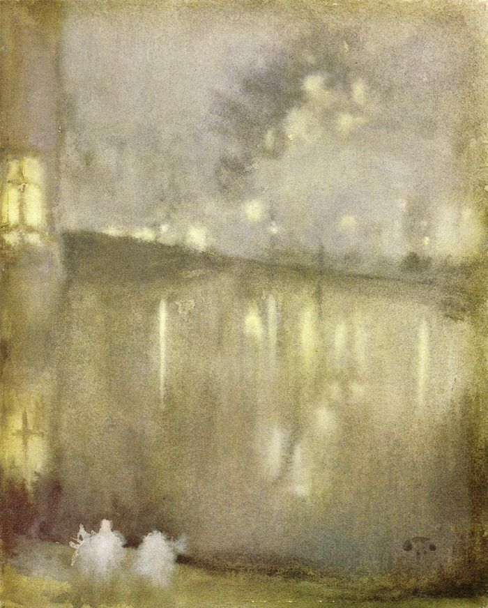 James Abbott McNeill Whistler - Nocturne grey  and gold. canal holland.