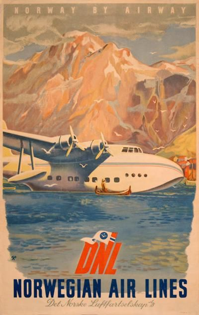 Classic Norwegian (pre-SAS) poster. I would have loved to fly the Sandringham!