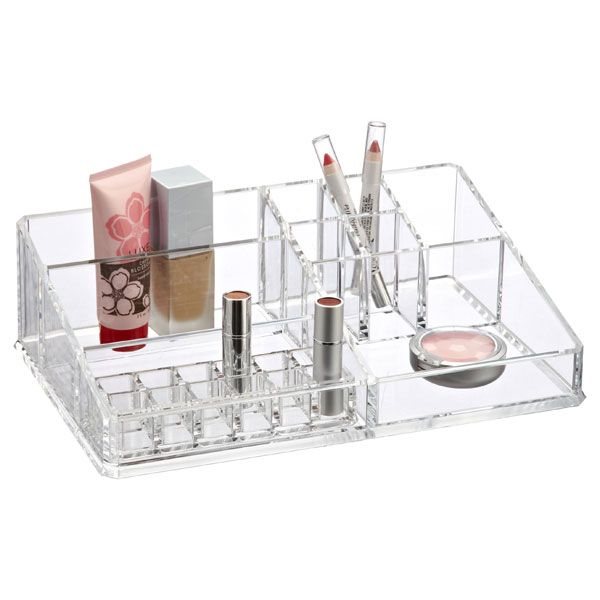 """Large Acrylic Makeup Organizer 12-1/2"""" x 8-3/8"""" x 3-5/8"""" h"""