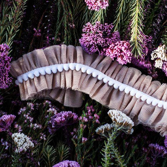 Wedding Garter Soft Tulle Pom-pom boho by LittleShopOfFinery