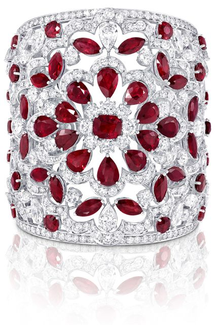 Graff ruby and diamond cuff, rubies, diamonds, cuffs, bracelets, bangles, jewelry,