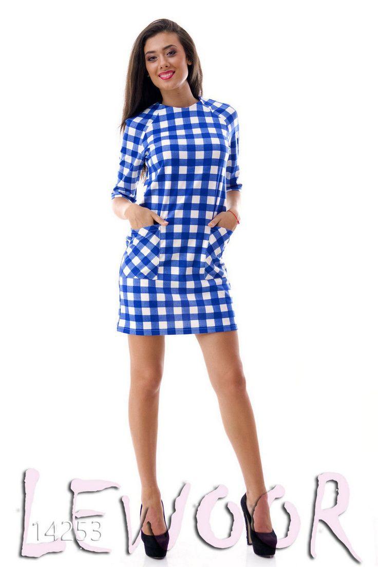 Милое платьице в клетку с карманами, рукав 3/4 - купить оптом и в розницу, интернет-магазин женской одежды lewoor.com