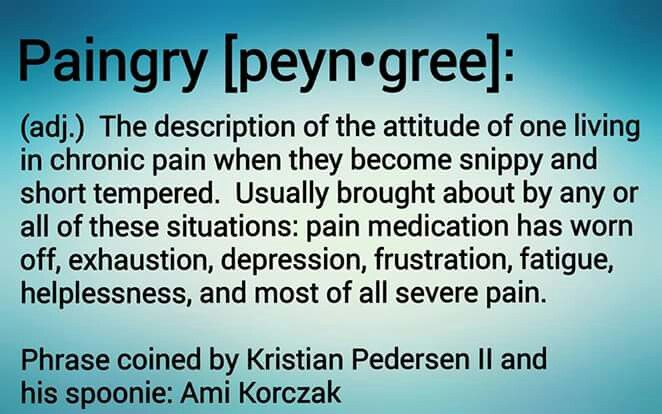 PAINGRY--the description of the attitude of a person living in chronic pain when they become snippy and short-tempered.
