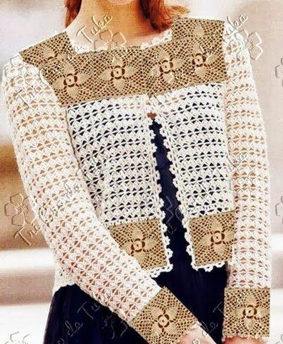 Os squares padrão, dão o toque diferenciado neste cardigan curtinho e alinhado…bella giacca, con modello e schema §