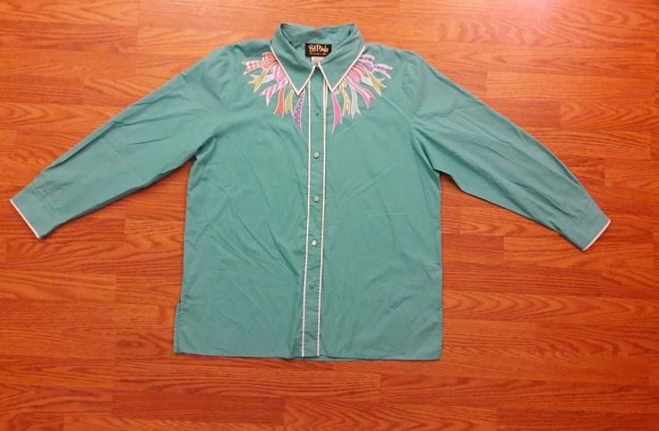 Women Shirt Bob Mackie Wearable Art Large Button front Embroidery long sleeve  #bobmackie #Western #Casual