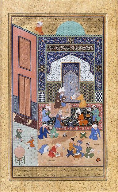 """Laila and Majnun in School"", Folio from a Khamsa (Quintet) of Nizami-""Laila and Majnun in School"", Folio from a Khamsa (Quintet) of Nizami Author: Nizami (Ilyas Abu Muhammad Nizam al-Din of Ganja) (probably 1141–1217) Calligrapher: Sultan Muhammad Nur (ca. 1472–ca. 1536) Calligrapher: Mahmud Muzahhib Artist: Painting by Shaikh Zada"