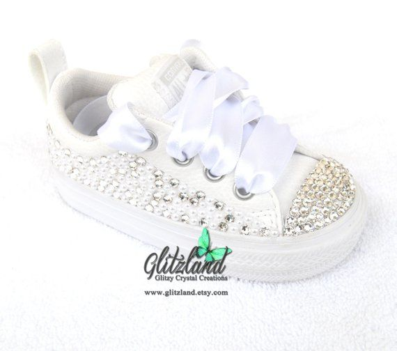 Pearl And SWAROVSKI® Crystals Converse Infant Toddler Kids Chuck Taylor  Leather Sneakers Customized With Pearls 8211eeff26