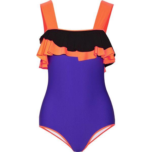 Roksanda Rafiya ruffled swimsuit ($281) ❤ liked on Polyvore featuring swimwear, one-piece swimsuits, swimsuits, bathing suits, bikinis, swim, purple, purple swimsuit, ruffle bikini and neon bikini