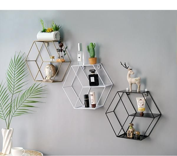 Nordic Ins Metal Decorative Hanging Shelf Round Hexagon Storage Holder Shelves Home Wall Decoration Potted Ornament Stand Rack Diy Room Decor Videos Wall Decor Shelves
