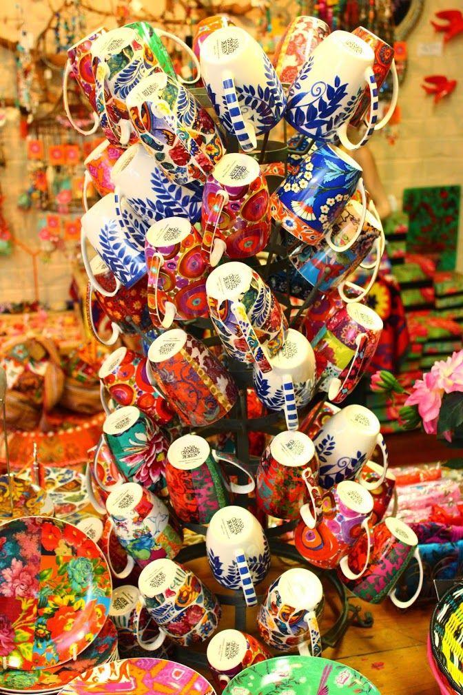 A tower of beautifully decorated mugs at Gypsiana Cottesloe