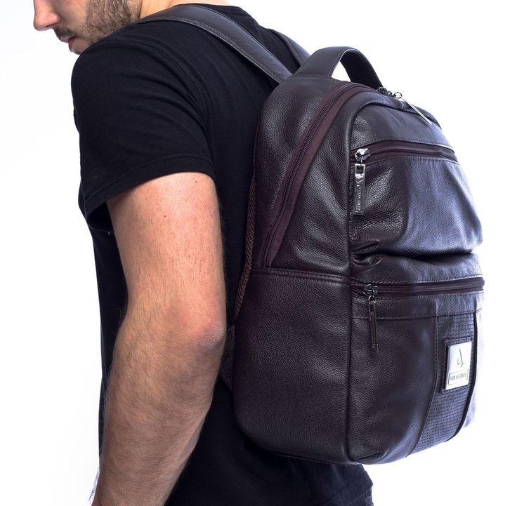 Mochila masculina com dois bolsos de couro marrom - Enluaze - Bolsas, mochilas, roupas e acessórios