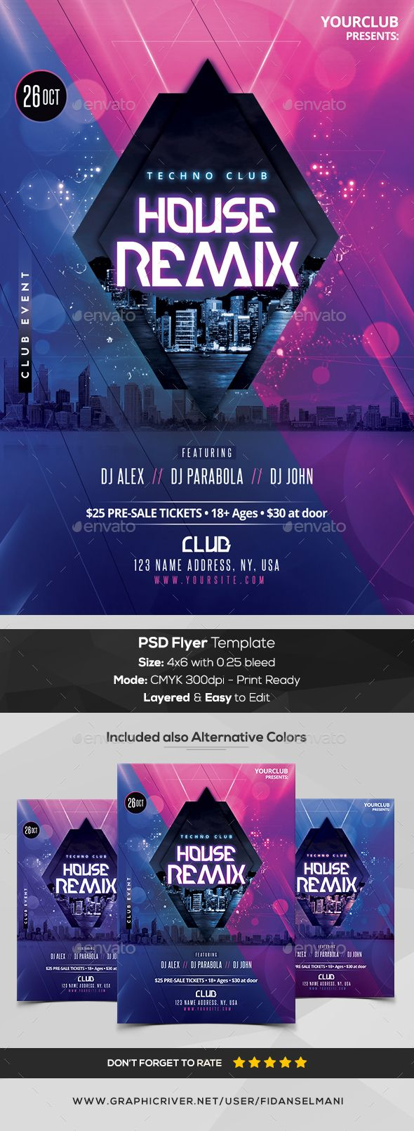 Techno House Mix - PSD #Flyer Template - Flyers Print Templates