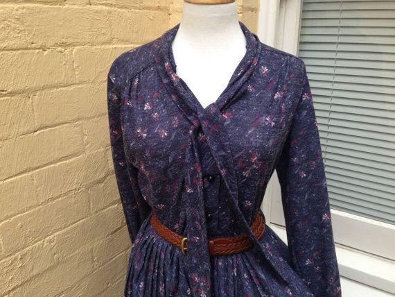 80's blue floral print work dress, size 14, size Medium - large on Etsy, $60.00 AUD