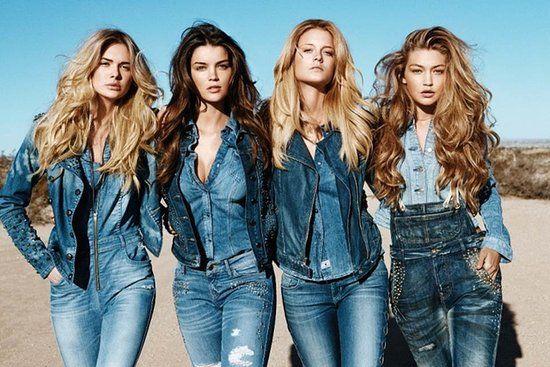 Blue Denim I GUESS Fall 2013 Ad Campaign I  Gigi Hadid, Natasha Barnard, Megan Williams, and Kate Bock photographed by Raphael Mazzucco. #Jeans