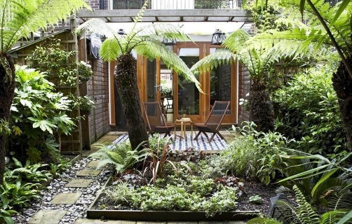 "In the heart of London, Christine created a micro rain forest of hardy, shade resistant plants in her backyard. For more, see ""The Reluctant Gardener: Christine's Oasis in London."" Photograph by Christine Hanway."