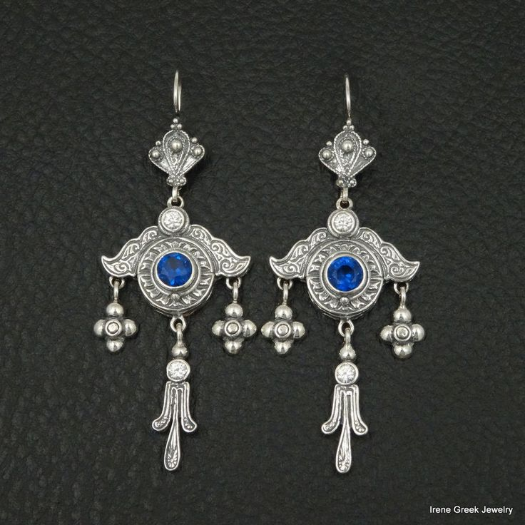 RARE SAPPHIRE CZ MEDIEVAL STYLE 925 STERLING SILVER GREEK HANDMADE ART EARRINGS #IreneGreekJewelry #Chandelier