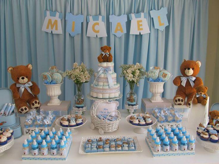 DECORAÇÃO PROVENÇAL : Chá de Bebê Ursinhos Azul e Beje