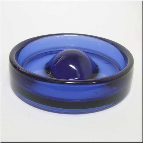 Holmegaard blue glass ashtray/bowl signed by Per Lutken.