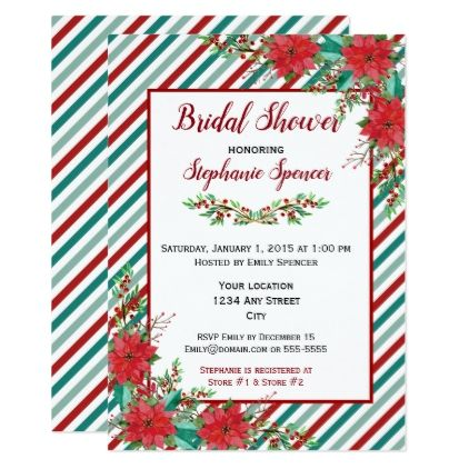Holiday Poinsettia Stripes Red Green Bridal Shower Card - holiday card diy personalize design template cyo cards idea