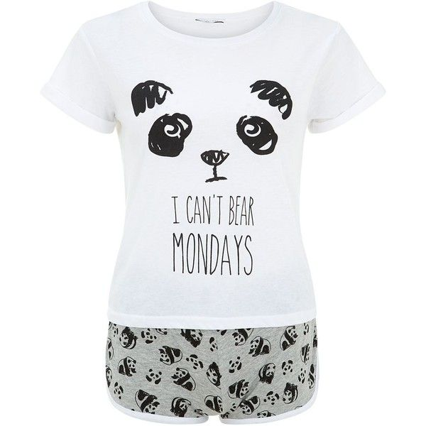 Teens Black Panda I Can't Bear Mondays Print Pyjamas Set (£9.99) ❤ liked on Polyvore featuring tops, t-shirts, bear t shirt, black t-shirt, print t shirts, panda bear t shirt and print tee