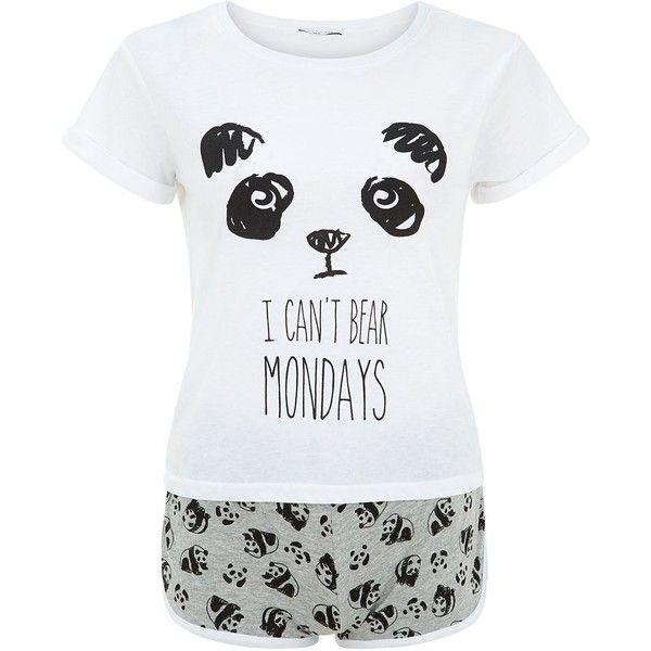 Teens Black Panda I Can't Bear Mondays Print Pyjamas Set ($14) ❤ liked on Polyvore featuring tops, t-shirts, bear tee, black top, black t-shirt, pattern t shirt and panda bear t shirt