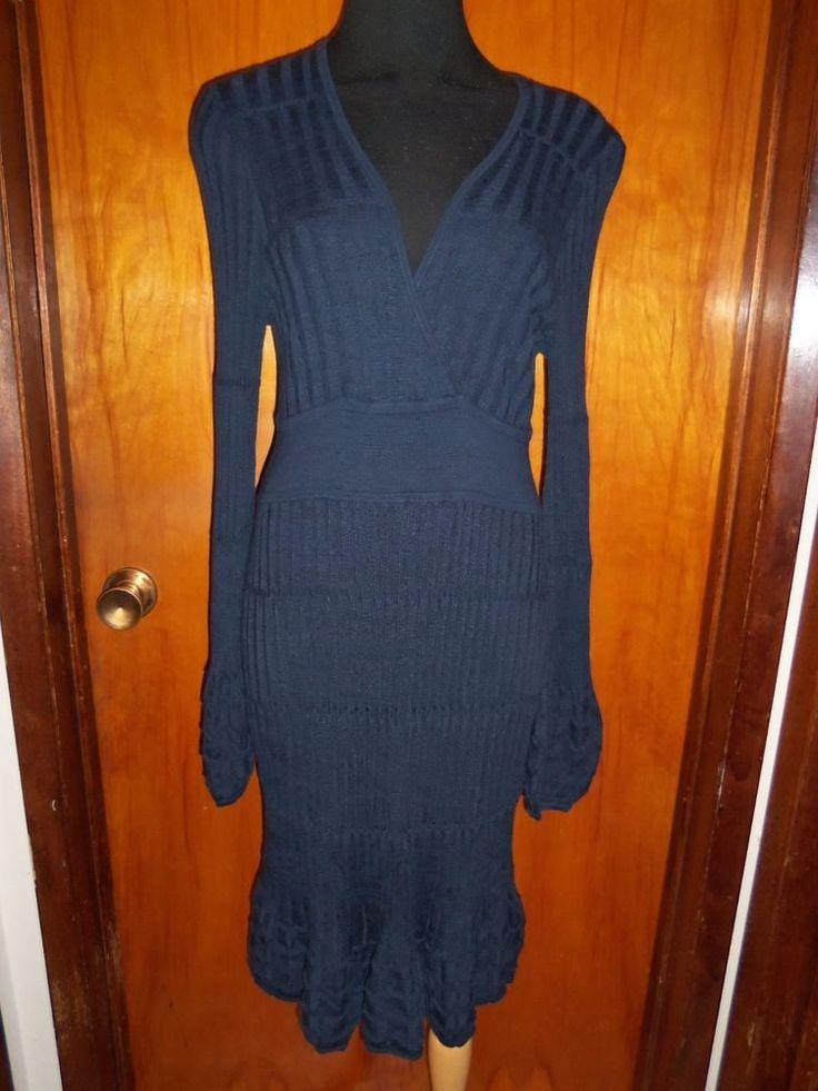 Victoria's Secret Moda International Navy V Neck Ribbed Sweater Dress L New #ModaInternational #SweaterDress #WeartoWork