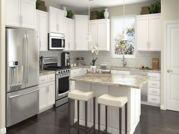 Kitchen, Small l shaped kitchen with island solid wood kitchen island stainless steel refrigerator over the range microwave gas range granite countertop subway tile backsplash solid wood kitchen cabinet: Stunning L Shaped Kitchen With Island