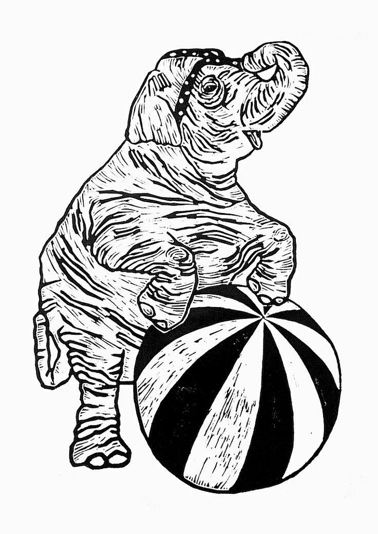 Elephant. Lino print 50x70cm. Monika Petersen