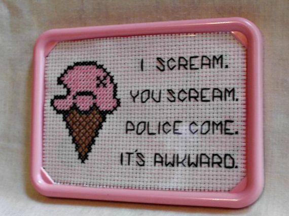 We All Scream For Ice Cream Framed Cross by SnarkyLittleStitcher, $9.00
