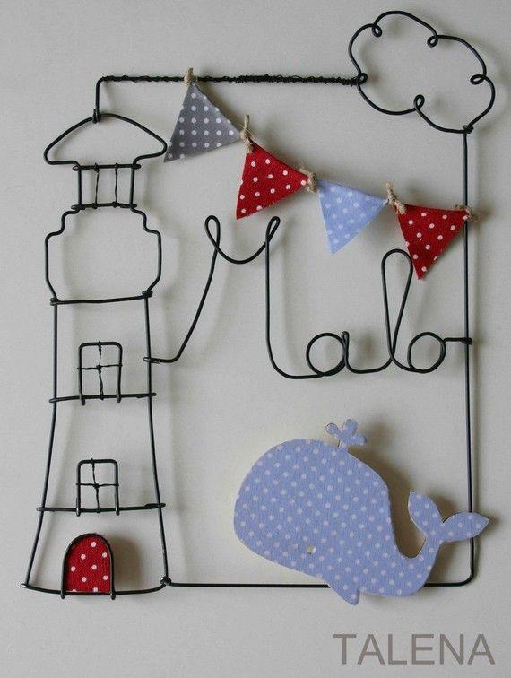 Plaque de porte pour chambre d'enfant Le Phare et la Baleine