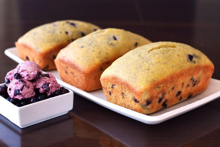 "Gluten Free Wild Blueberry Cornbread Loaves with Wild Blueberry ""Butter"" by @GoDairyFree. Growing up, making mini bread loaves was a holiday tradition in @GoDairyFree's home. Her churned out dozens of little loaves of pumpkin bread and packaged them up as gifts for neighbors, coworkers, and friends."