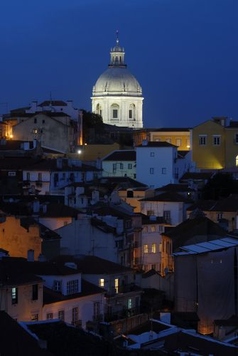 The Panteao Nacional and the Alfama area in Lisbon.
