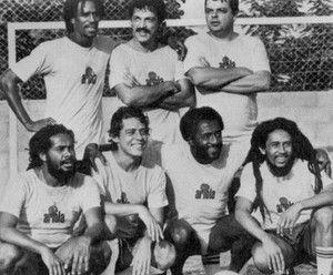 Jamaican-Brazilian: The Bob Marley-Chico Buarque Soccer FootBall Dream Team. Barra da Tijuca district, Rio de Janeiro, Brasil, March 1980