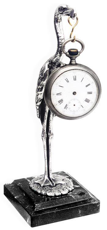 Cicogna portaorologio  su base marmo cm 21,5 (Peltro / Britannia Metal) - collezione: Cicogna. Cosi Tabellini.